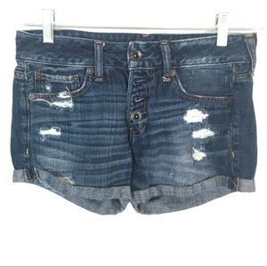 "Abercrombie & Fitch Shorts - Abercrombie & Fitch 25"" blue high rise jean shorts"